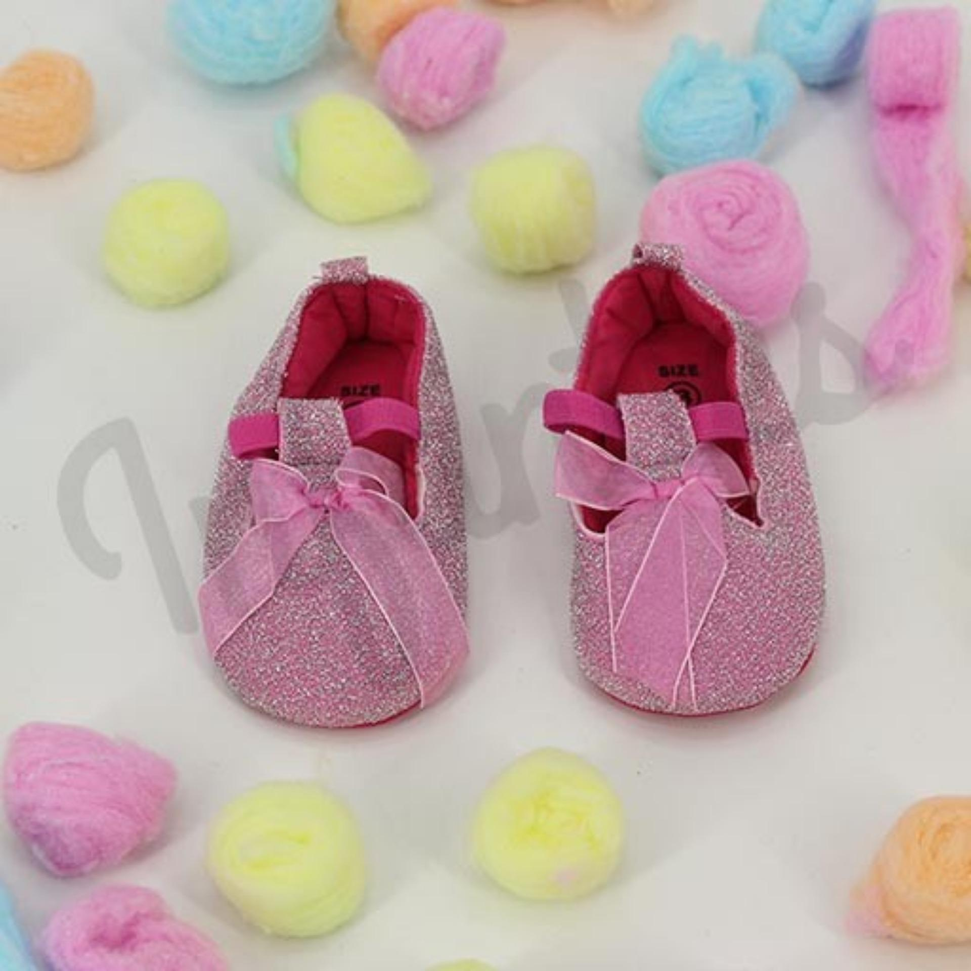 ed83d595b41897 GIRL PUMPY INFANTIES PINKY SHIMMER WITH RIBBON 9191 18195-2 24