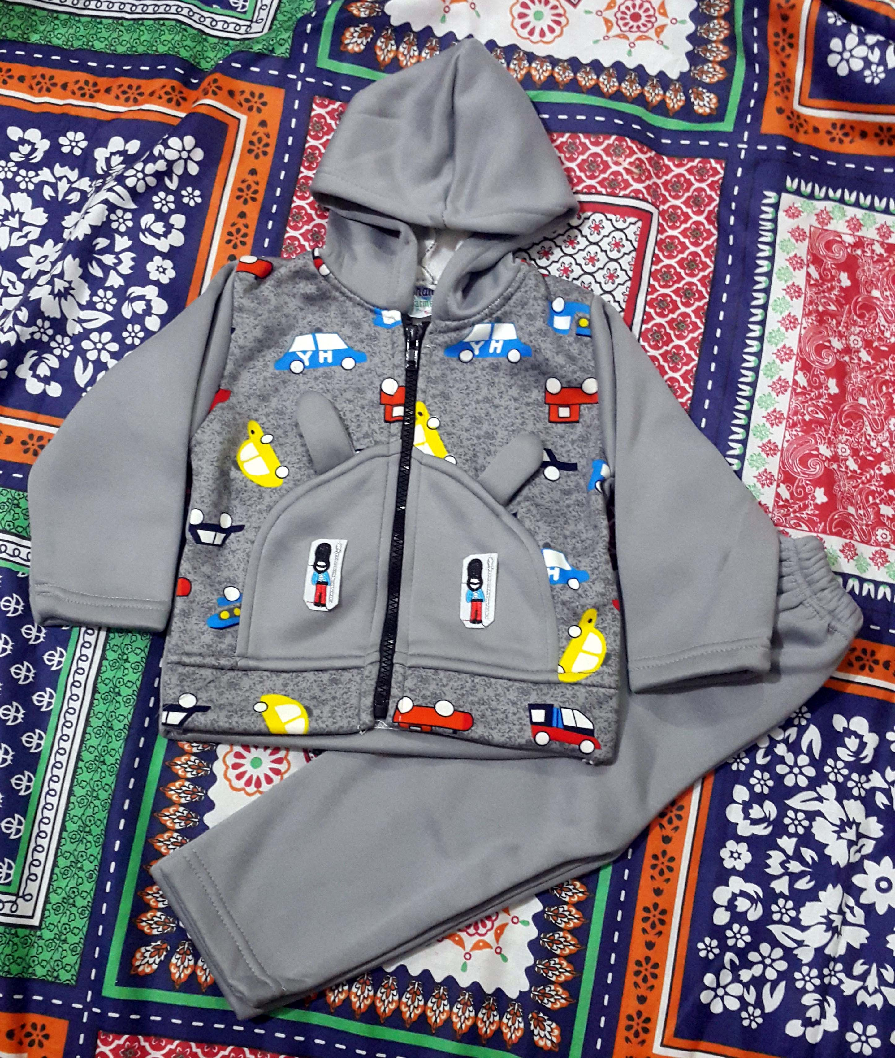 BABY BOY KID FULL SLEEVES FLEECE HODDY AND TROUSER WARM CLOTHES SUIT FOR WINTER CLOTHING HOODIES