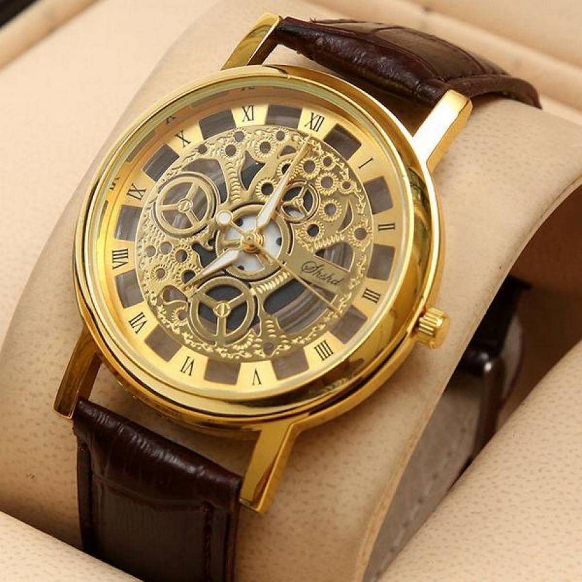 Brown Leather Skeleton Watches for Men-TW002
