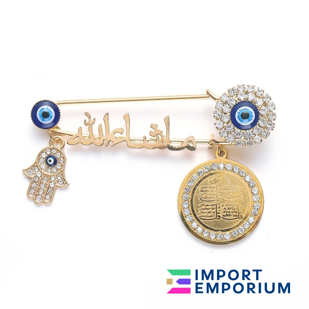 Blue Gold High Quality Metal Turkish Fashion Jewelry Baby Pin Brooch, Stroller, Newborn Pendant, Evil Eye Protection Clothing Accessories for Babies Men & Women with Free Gift Box