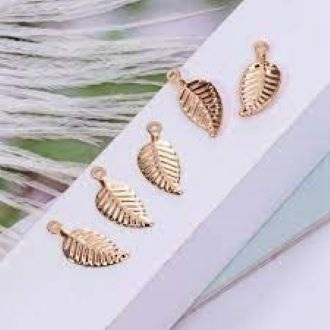 20PCS Gold Tree Leaf Leaves Pendants Alloy Delicate Charms DIY Accessories For Handmade Earrings Bracelets Necklace