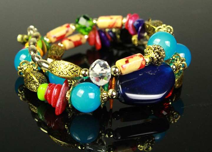 Bracelet With Golden And Multi Colour Beads For, Girl, Women , & Her