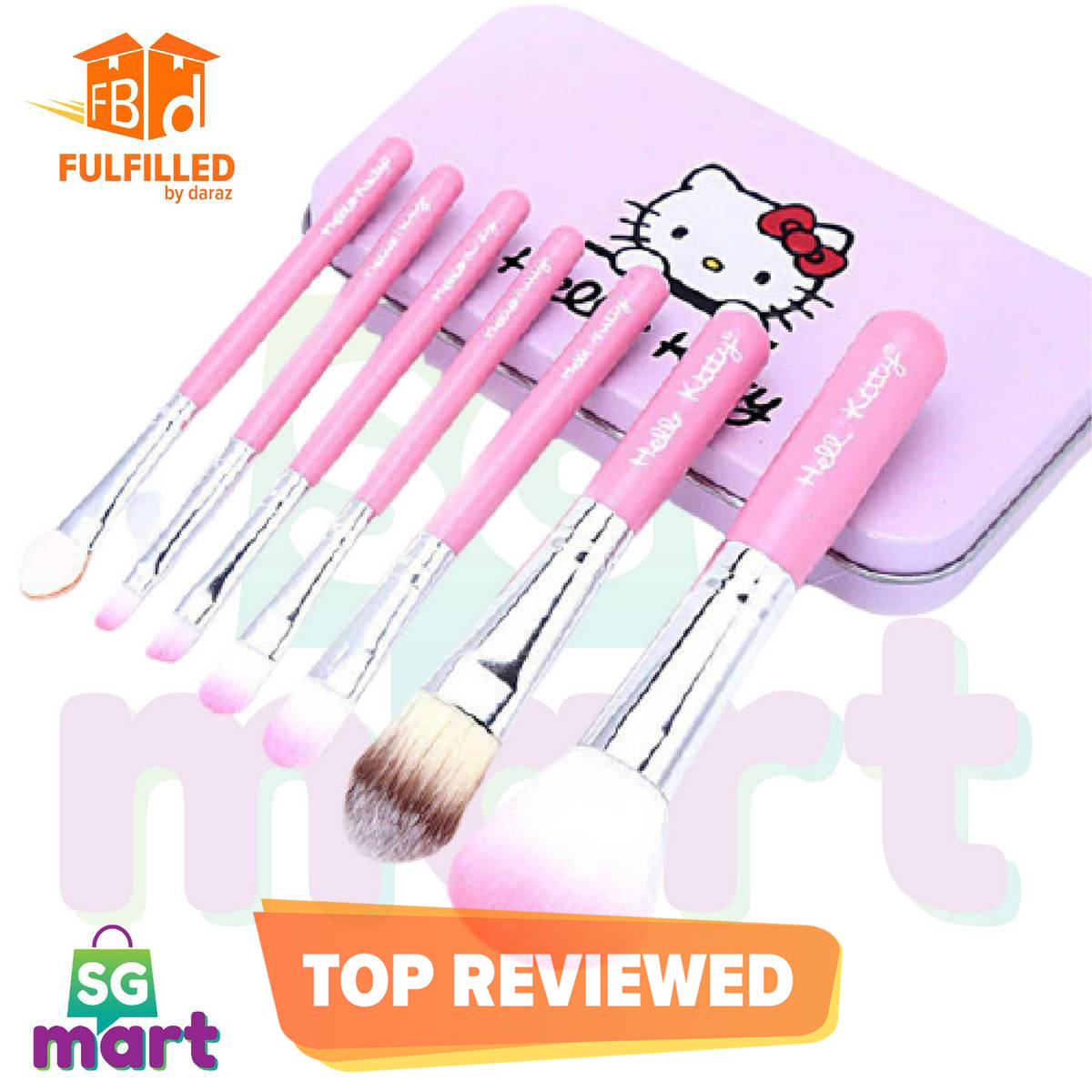 Hello Kitty 7 Makeup Foundation Powder Eye shadow Brushes Set Make-Up Brushes - SG Mart