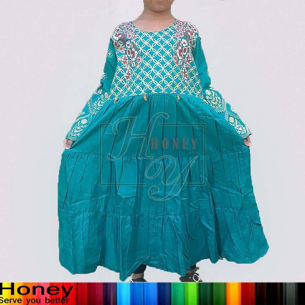 Fancy Embroidery Full Sleeves Kids Kurti, Type Frock, Maxi, Top, Shirt, New Collection 2021, Party wear Good stitched).
