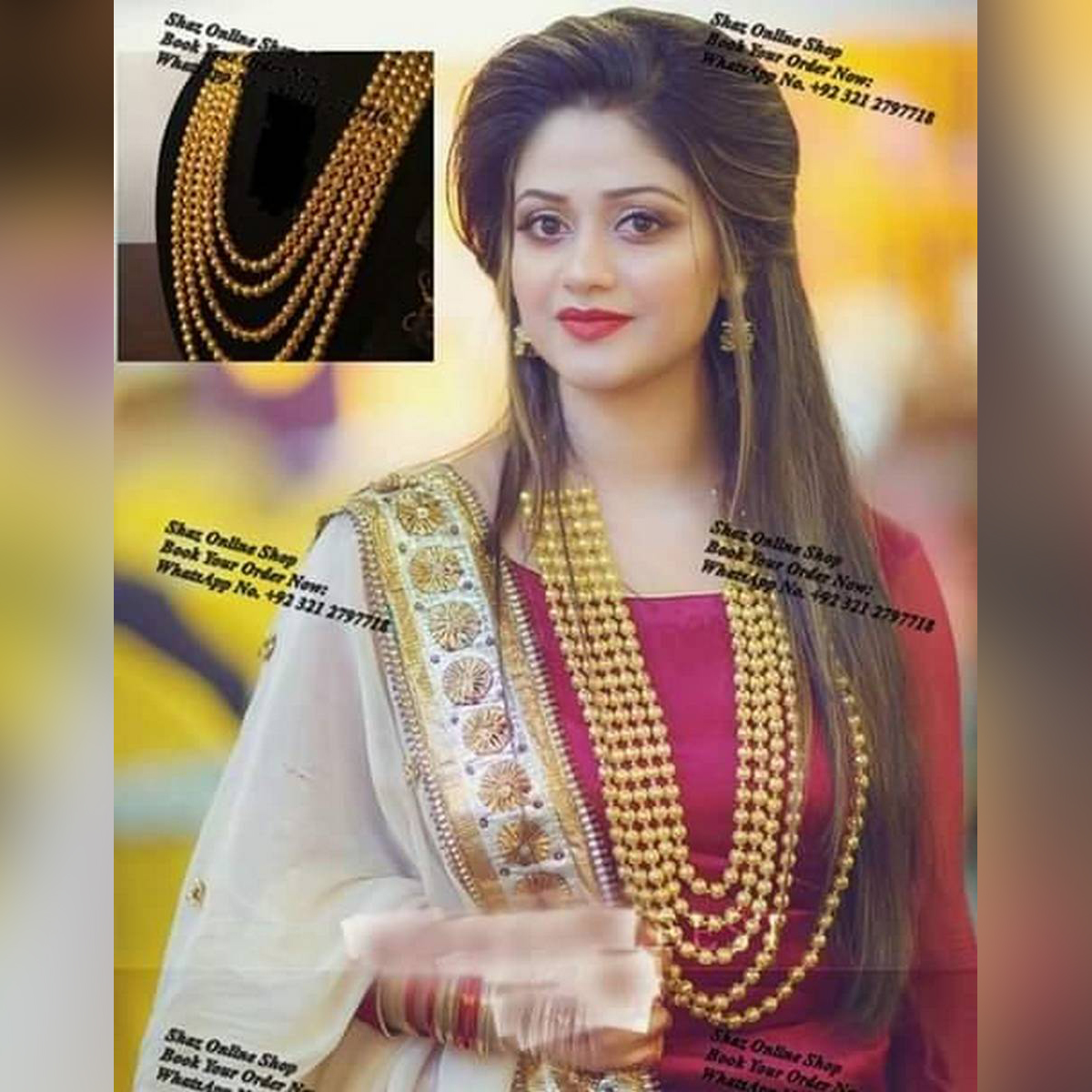 mala with jhoomke fashionable desing  Looking beautyfull style for her  gold pleted desing
