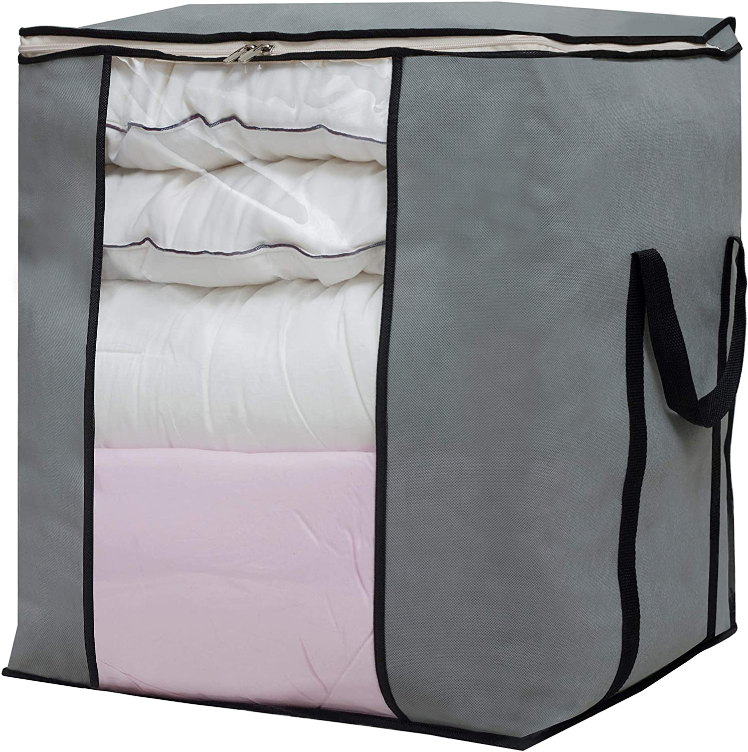 Large Foldable Storage Bag Organizer Clothes Storage Container for Blanket Comforter Clothing Bedding with Durable Handles