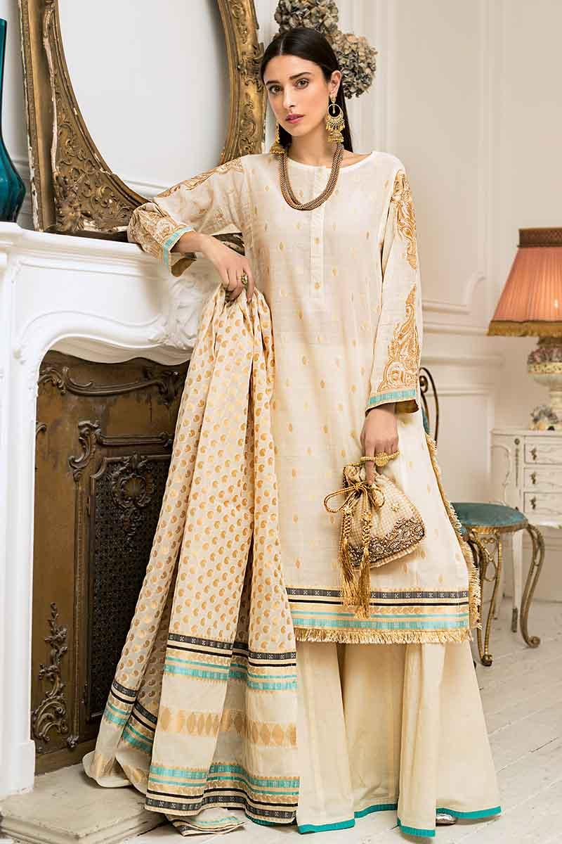 bbb0f74d08 GA - GUL Ahmed-Eid Collection 2019 Golden Embroided -3PC Unstitched-FE-