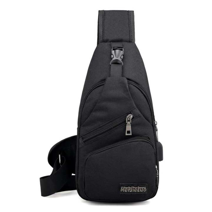 Sling Bag with USB Charging Port Crossbody Canvas Chest Backpack