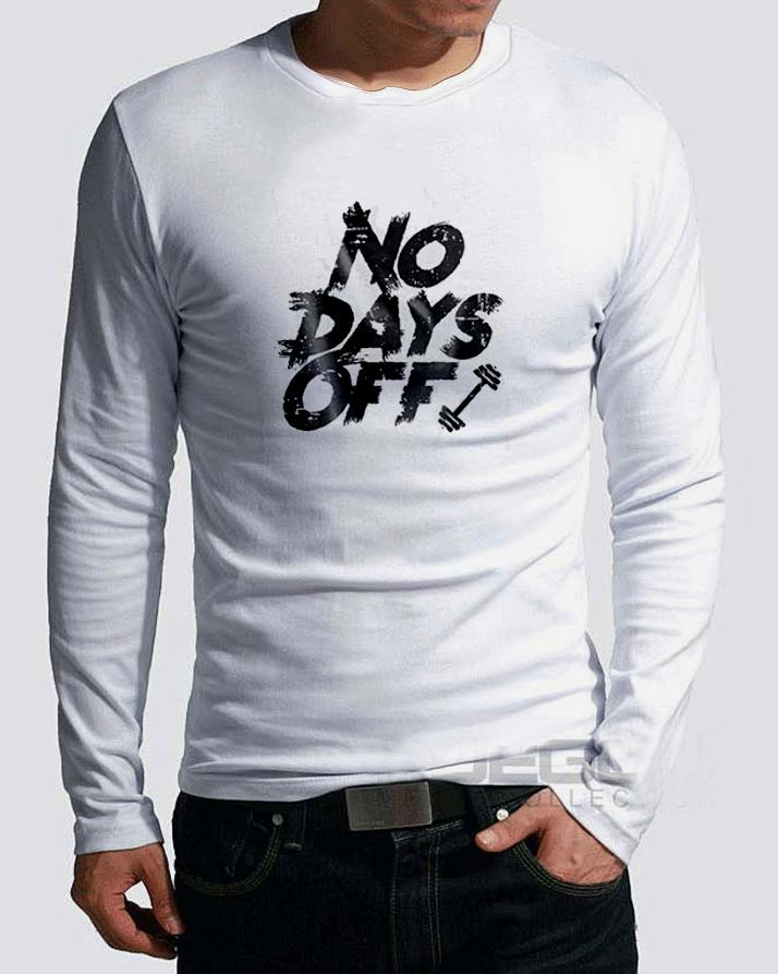 259db848e9282 No Day Off casual New Fashion White Full Sleeve Round Neck Printed Best  Quality T-shirt For Men