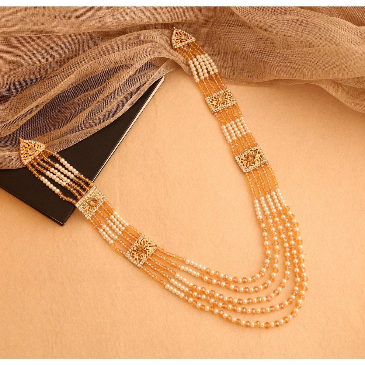 Traditional Pearl Beads Bridal Wear Necklace Earrings - Wedding Jewelry Set