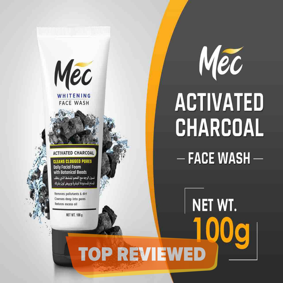 Mec Whitening Activated Charcoal Face Wash