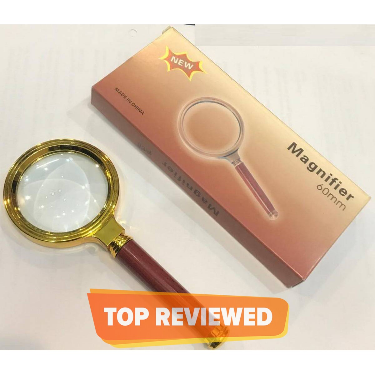 60mm 10x Handheld Jewelry Magnifier Magnifying Glass Red Brown Handle 60mm / 10X Jewelry Loupe for School, Offices, Doctors