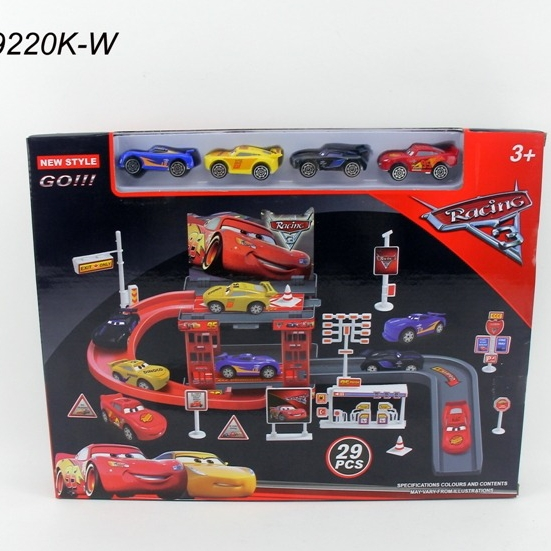 Mcqueen Lot Car parking play set  with Cars and tracks Big size adjustable track.