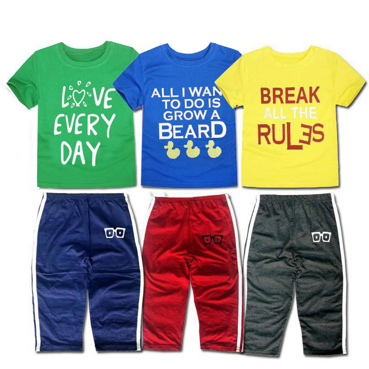 Pack Of 6 = 3 Printed T-shirts & 3 Trousers For Unisex