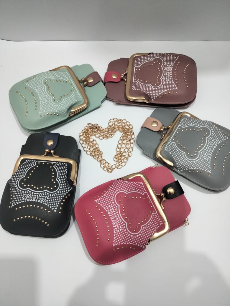 Stylish Mobile Wallet for Girls Women- Ladies Purse Cross Body Bag Hand Clutch Pouch with Chain