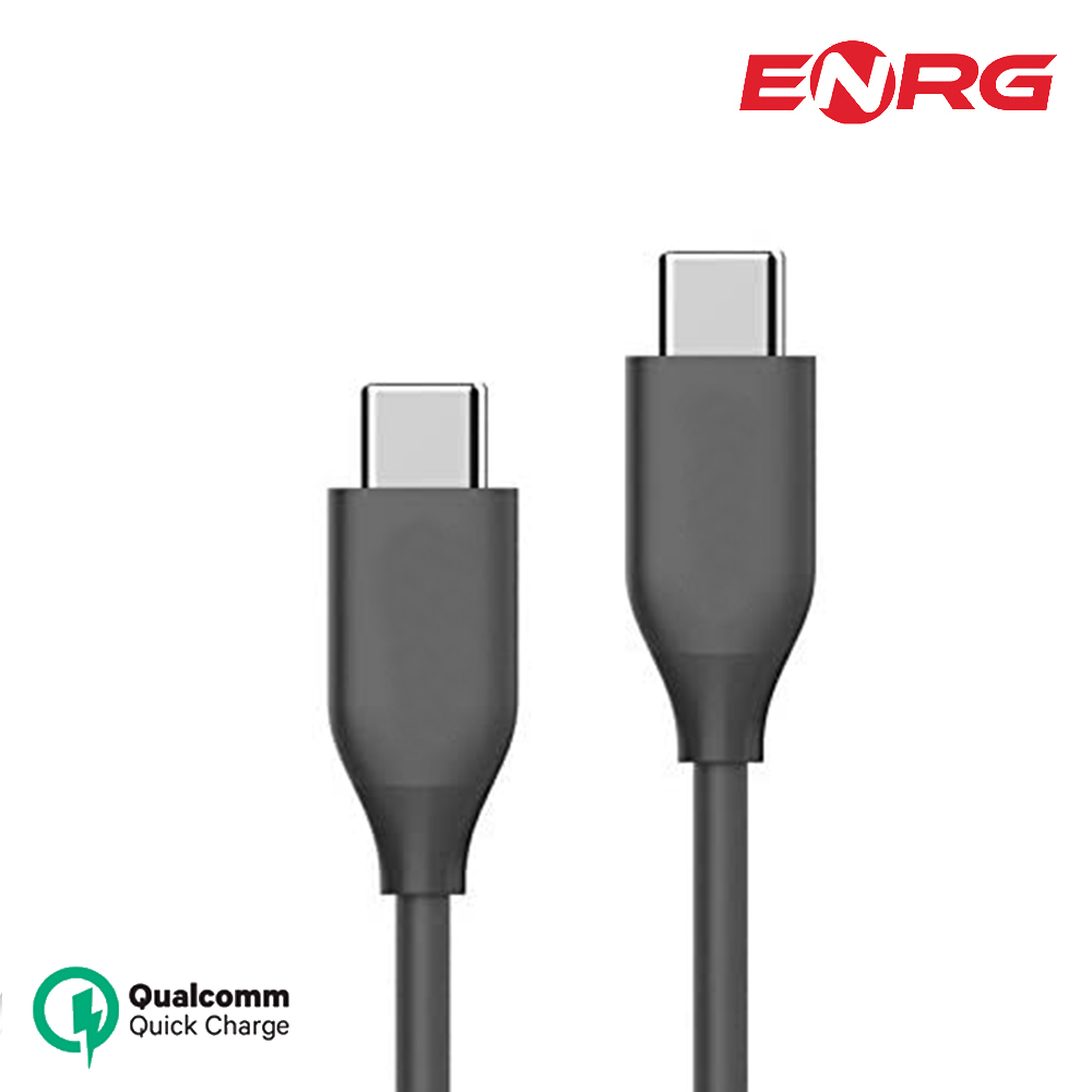 ENRG 3.0 Type C to Type C Fast Charging Power Cable with 3.1 Data Transfer Speed for Android and IOS iMac - Black