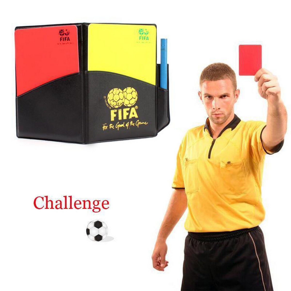 Referee Cards Red / Yellow Volley Ball Sport Wallet Notebook Pencil Soccer Game Kit
