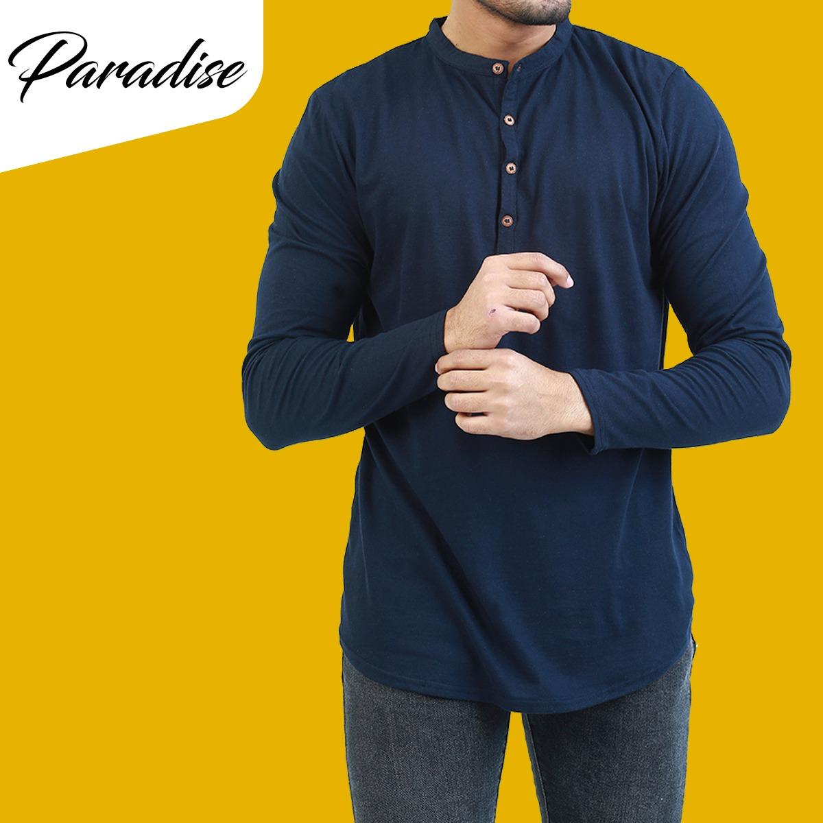 Full Sleeves Navy Blue Kurti Plain Tshirt For Men