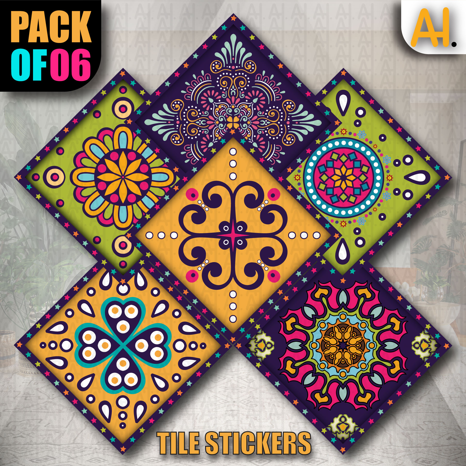 Tile Stickers Pack of 12 Pieces Colorful Textured Stickers for Home Decor Self Adhesive Wall Tile Sticker 4.8in by 4.8in (12 Pieces)