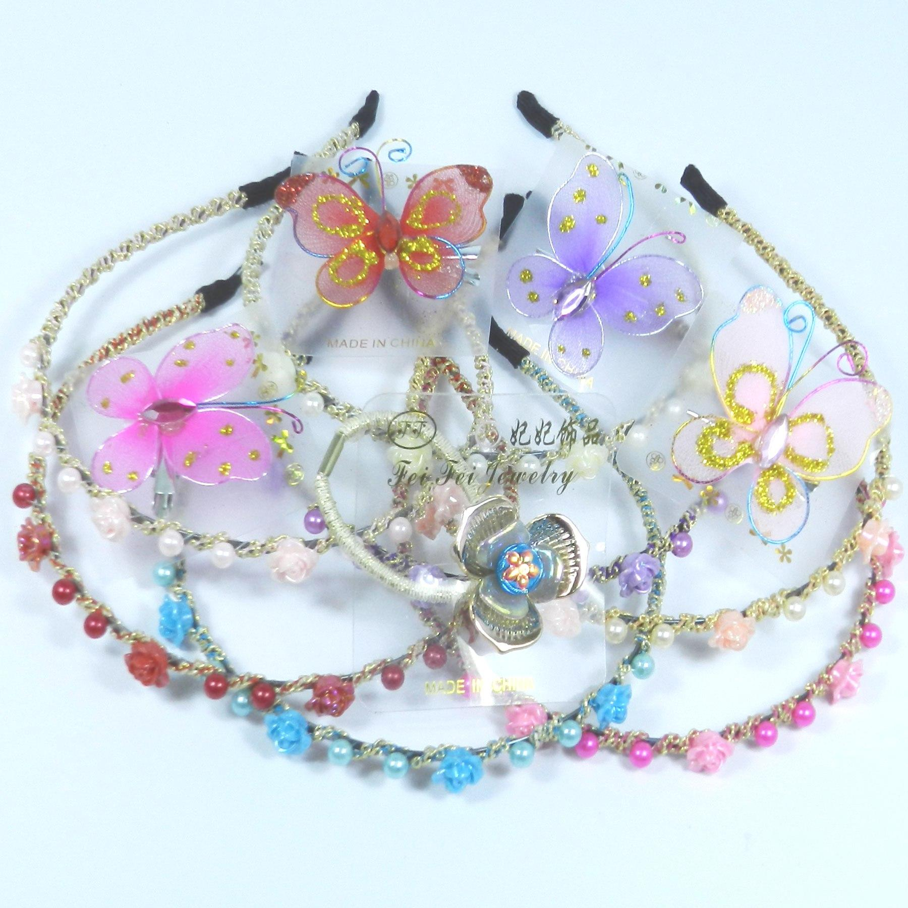 bacf8749b7 Girls Fancy Roses Pearl Head-Band Butterfly Brooch Beautiful Multi-Color  Bridal Flowers Crown