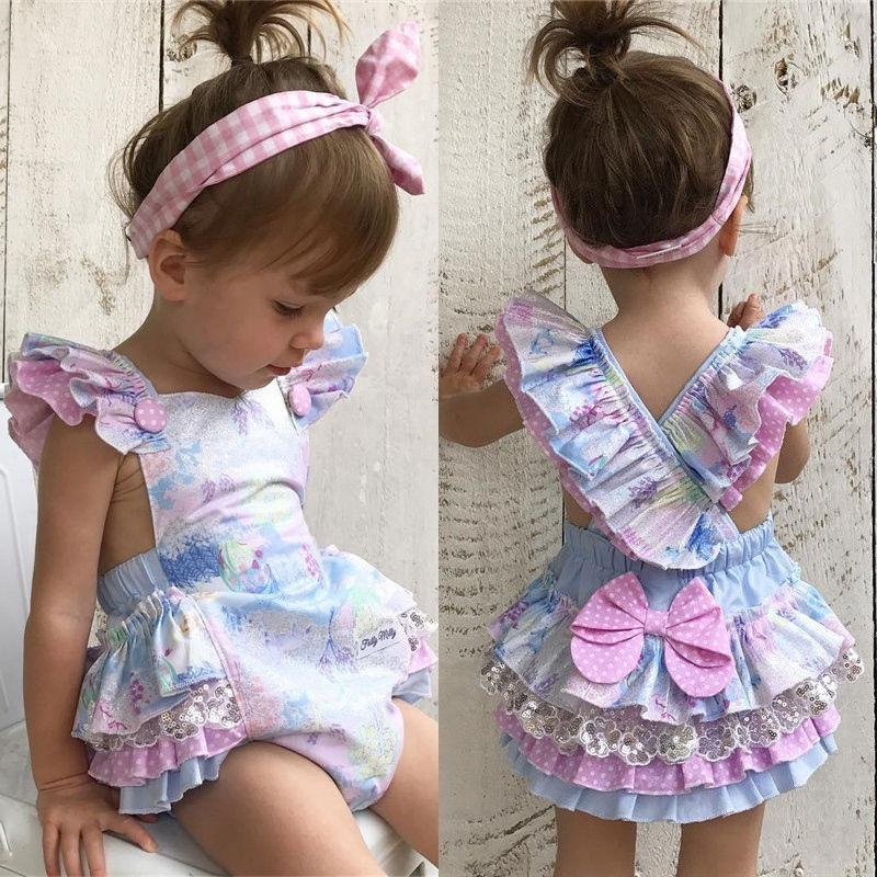 f2a082653cde Lovely Infant Baby Girl Floral Romper Bodysuit Jumpsuit Outfits Sunsuit  Clothes
