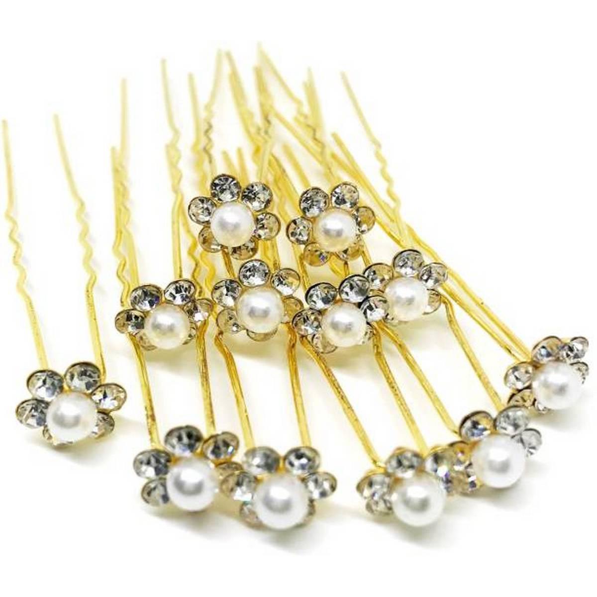 Flower Pearl Victorian Bride Hairpin Wedding Girl's Hair Bobby Pins Party Hair Accessories Hair Pins (Silver)