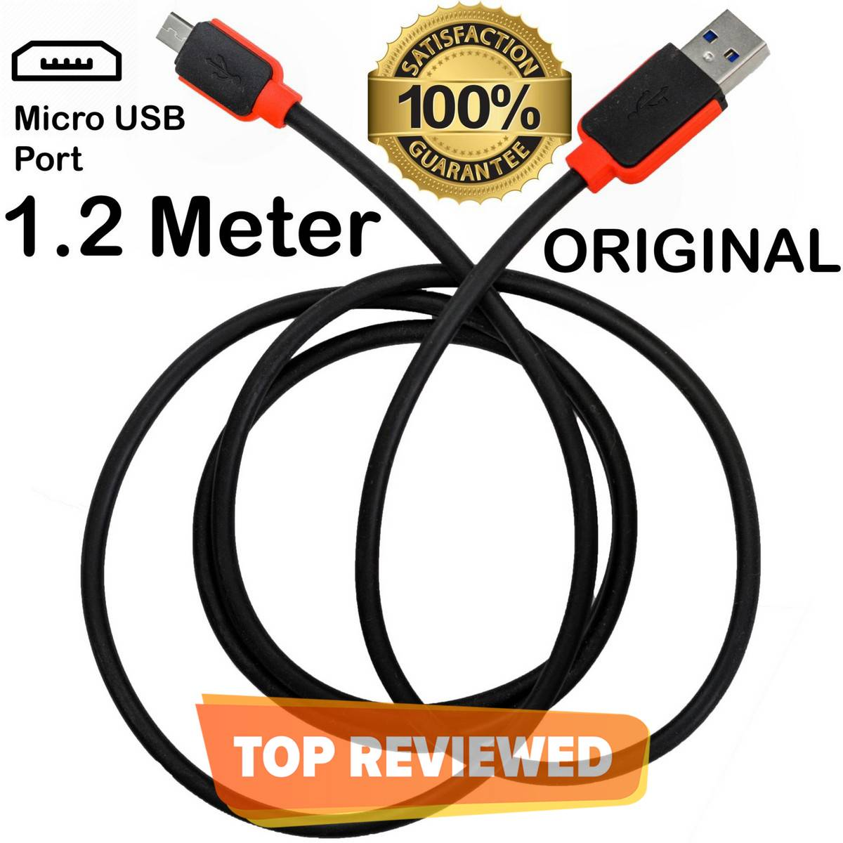 ORIGINAL Warner 1.2 Meter Micro USB 3.0 Fast Charging + Data Cable For Samsung / HTC / Infinix / Xiaomi / Oppo / Huawei / Nokia / Lenovo / Android Phones - Black & Red
