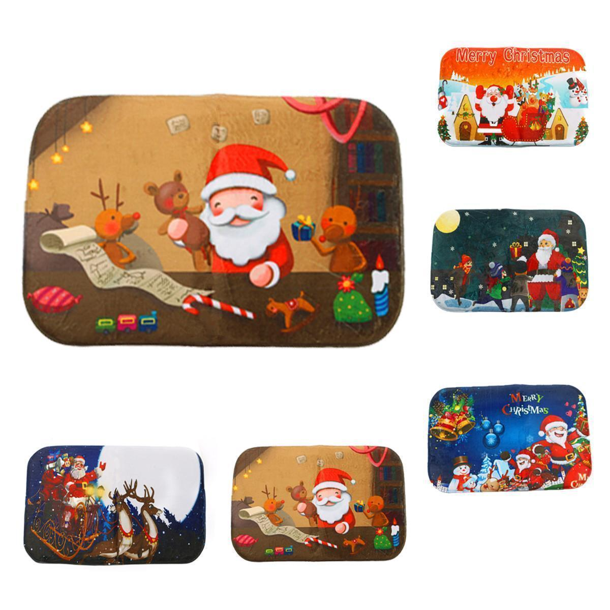 Anti Slip Christmas Xmas Santa Absorbent Floor Mat Rug Doormat Bathmat Carpet
