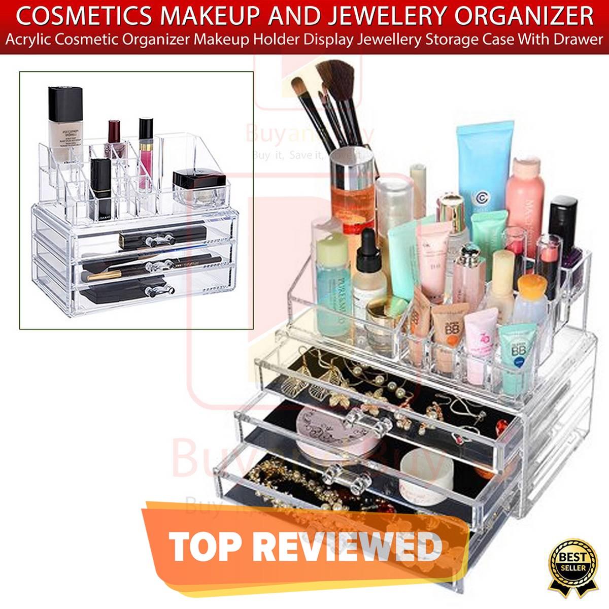 Acrylic 3 Drawers 12 Trapezoid Lipstick Makeup Display Stand Cosmetic Organizer Holder Case jewelry Box Storage