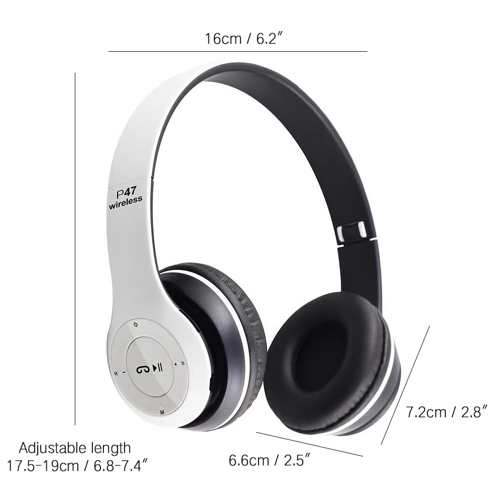 Wireless Headphones P47 with Noise Reduction Microphone for mobile phones, android, tablet, tv, PC, laptop, computer - with built in mic, fm radio, optional 3.5mm audio jack, tf micro sd card support, foldable design, true gaming headset earphones