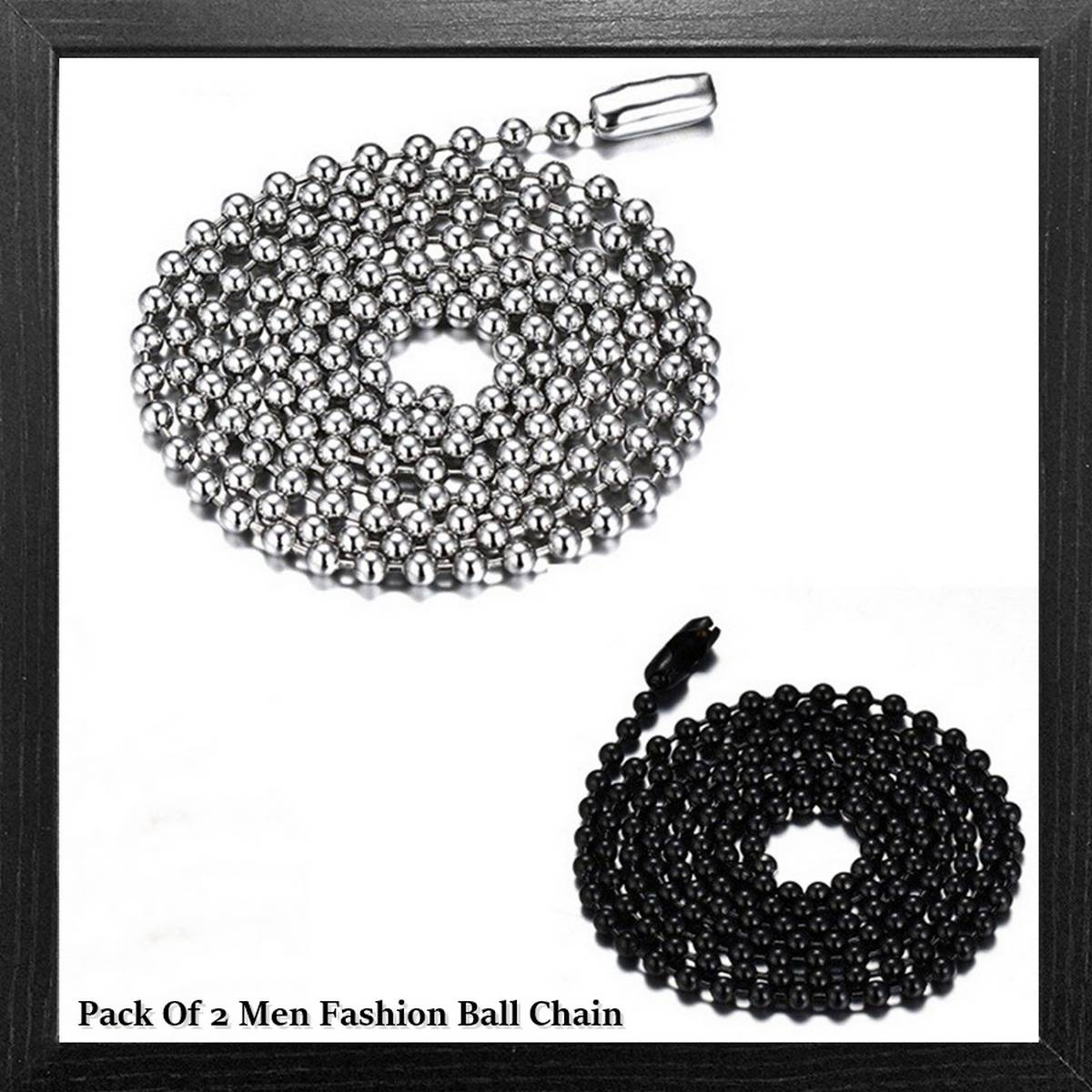Pack Of 2 Fashion Jewelry Women Men Stainless Steel Silver / Black Necklace Beads Ball Chain