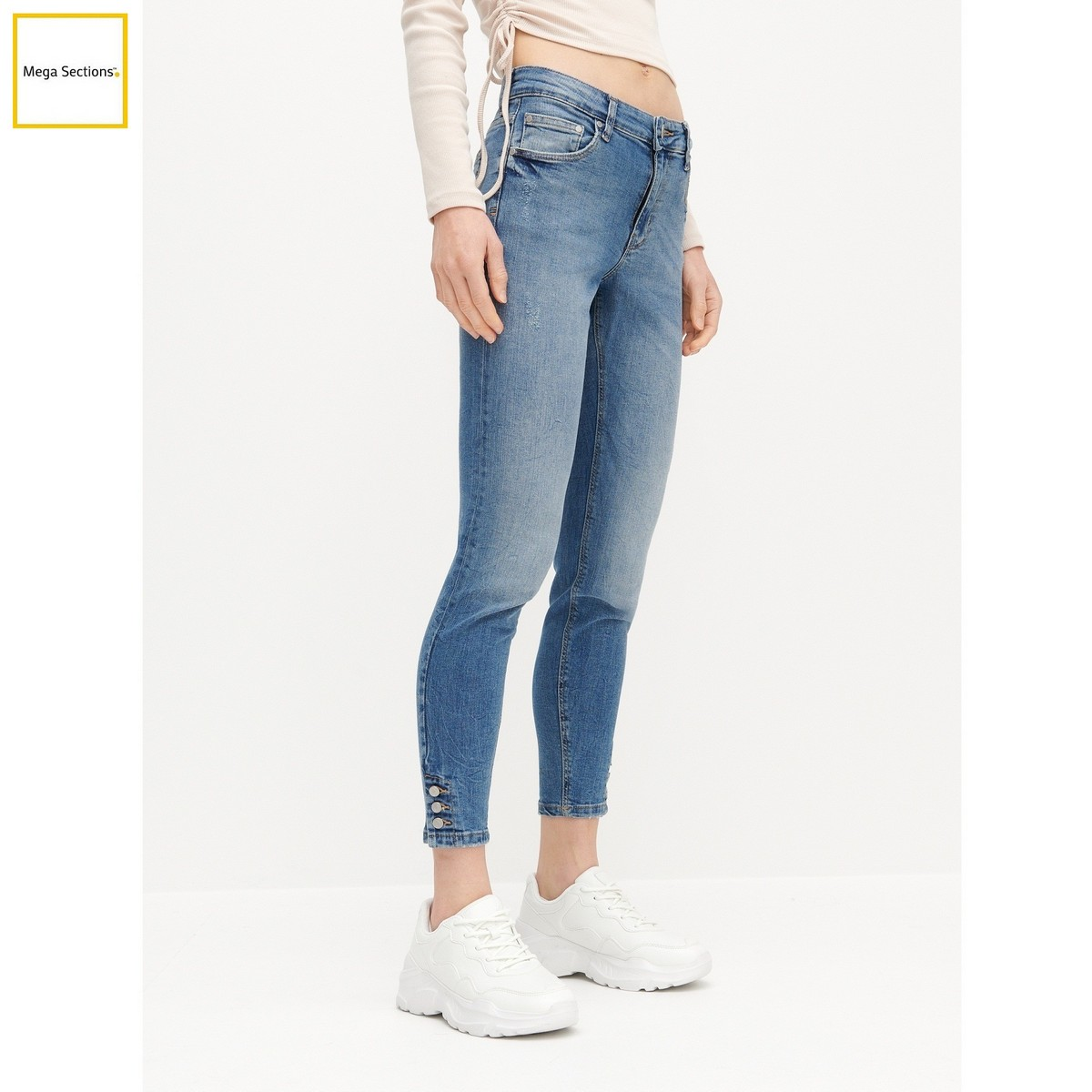 RESERVED Brand Denim Sky Blue Button Fastening Jeans For Women – Designed in Poland