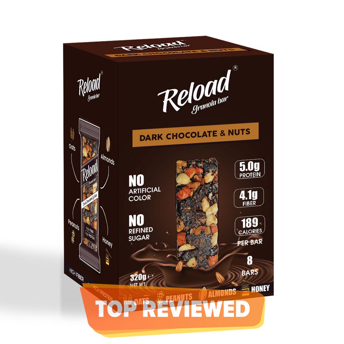 Reload Granola Bar - Protein Bar - Dark Chocolate & Nuts - Box (8 Bars)