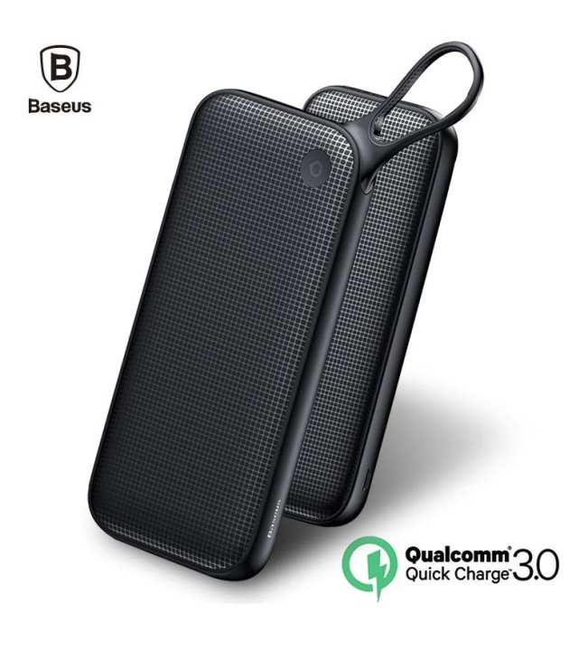 Original Baseus Powerful QC3.0 Quick Charge Three Output Lanyard 20000mAh Power Bank Dual Input Portable 3A Quick Charger