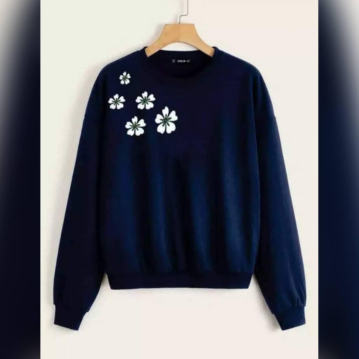 Navy Blue spring flowers printed sweat shirt