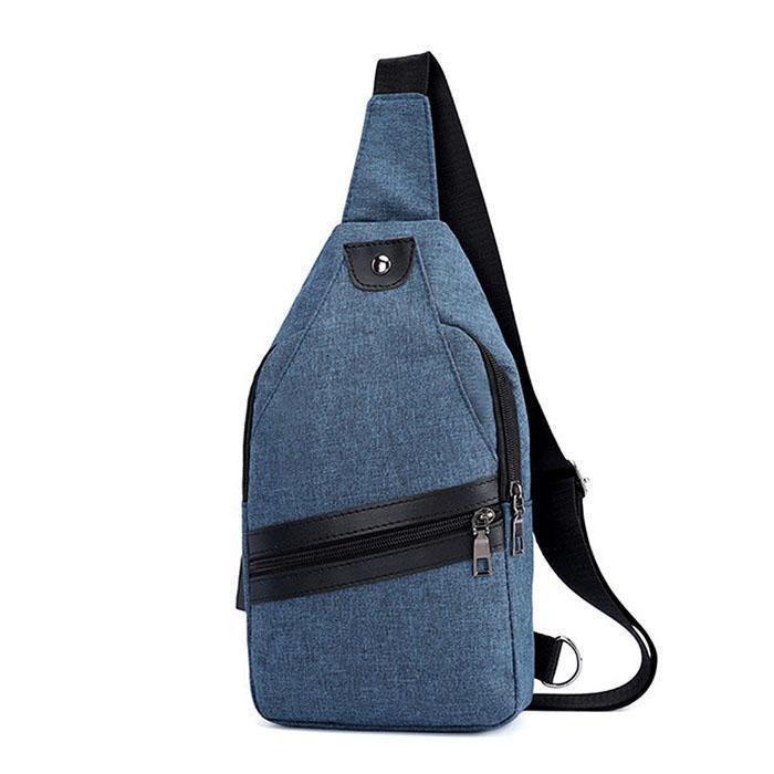 Men Fashion Casual USB Charging Shoulder Bag Solid Single Strap Chest Bag b9199a9368ff6