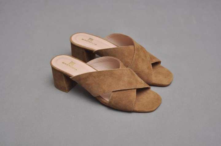 Suede cross Strap Block Heel Slides
