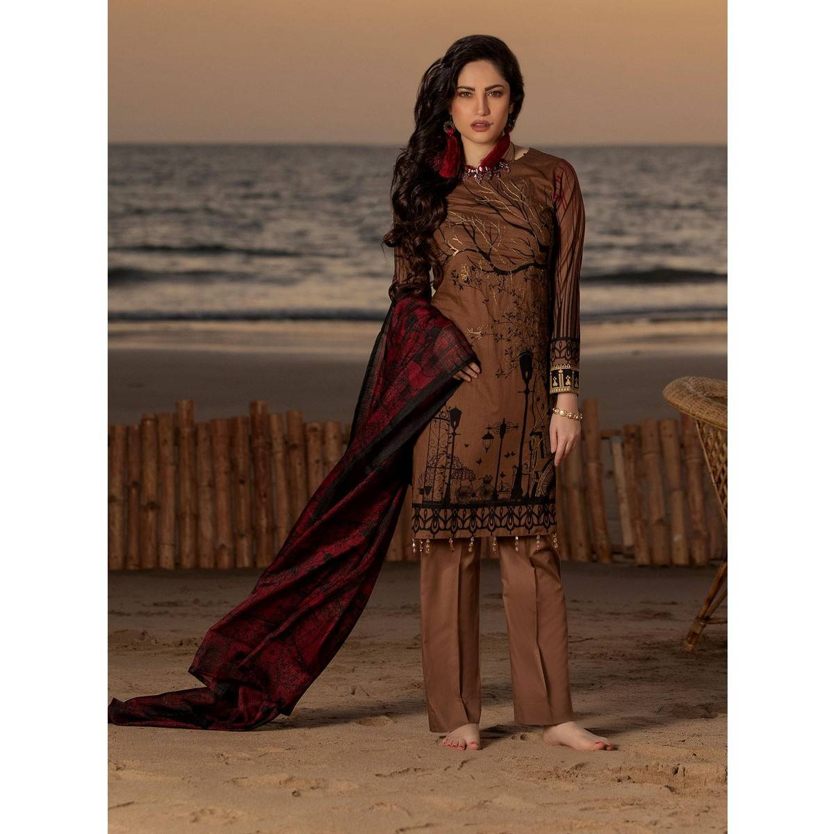Salitex Unstitched 3pc Embroidered Lawn Shirt with Printed Check Dupatta (WK-497B)