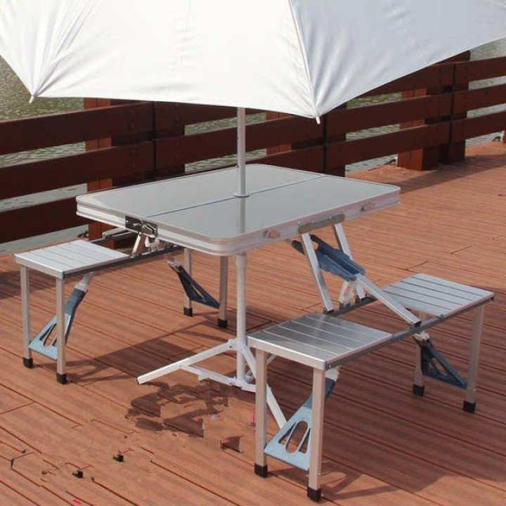 Folding Portable Picnic Outdoor Camping Set Table & 4 Chairs