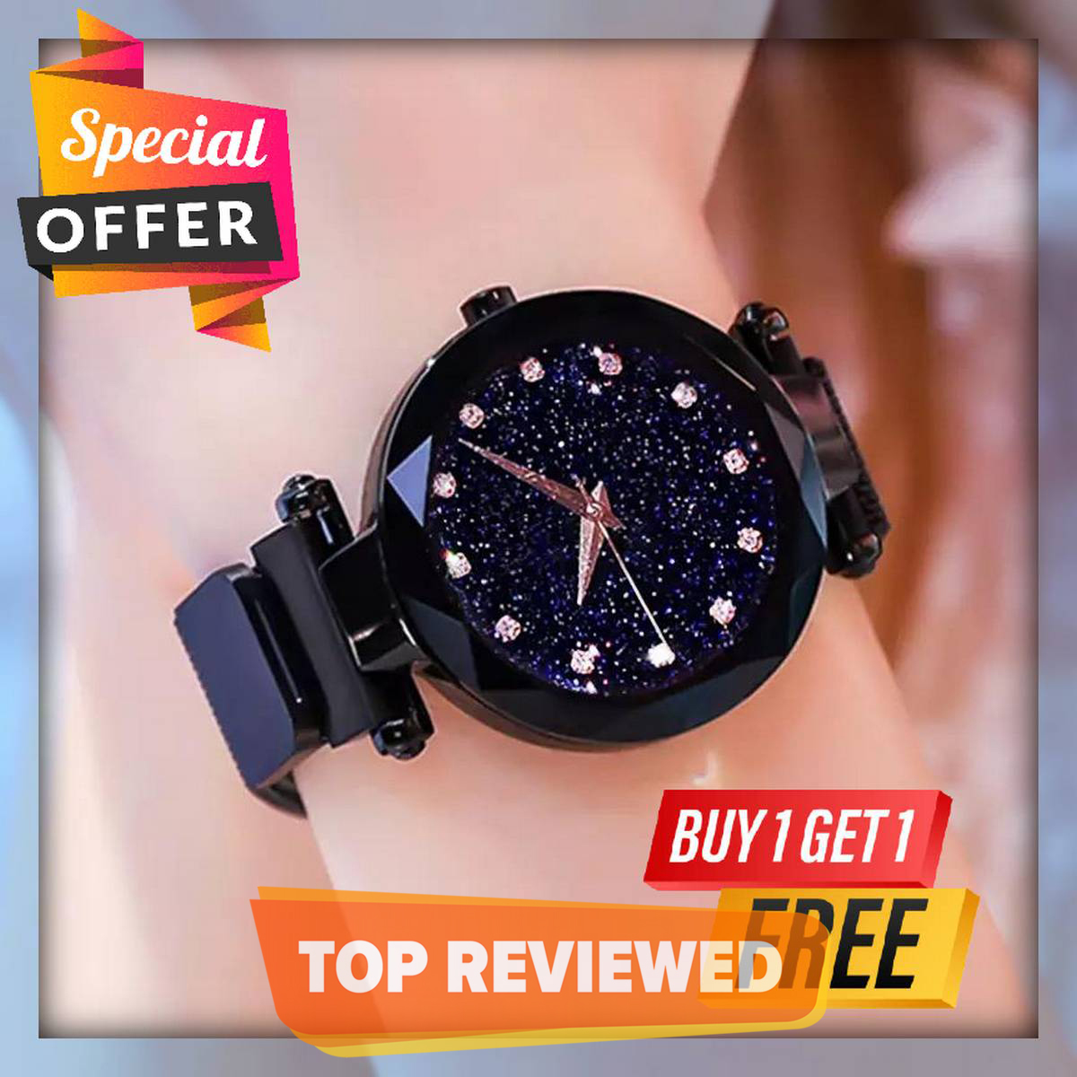 Watch for girls stylish new design 2020 2021 Ladies Luxury Fashion jewellery Female - Black Watch with Magnetic Mesh Strap