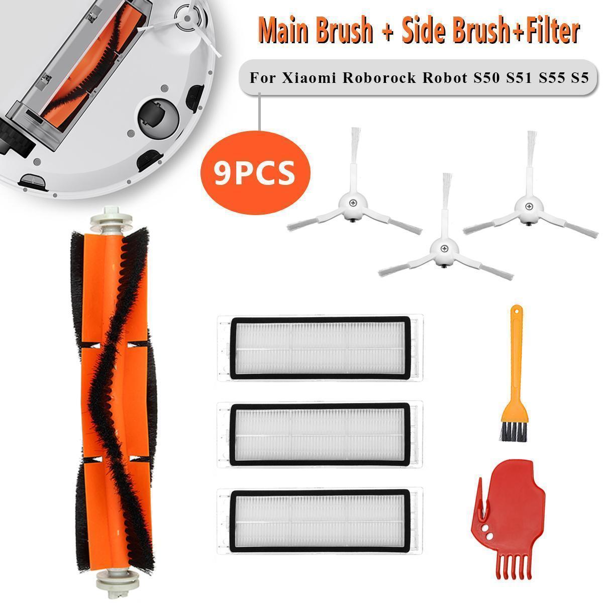Esolo 9pcs Filter Main Side Brush For Xiaomi Roborock MI S50 S51 S55 S5  Vacuum Cleaner