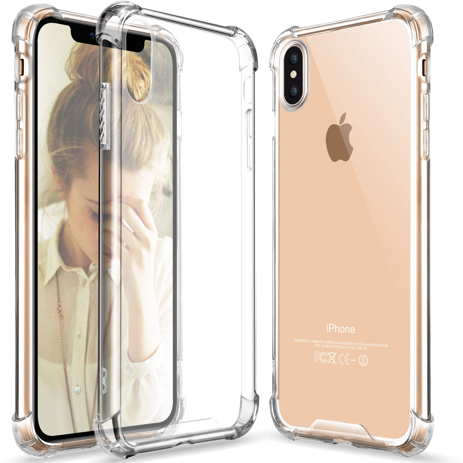 iPhone XS Max Anti-Shock Air Cushions Drop Resistance Transparent TPU Case Silicone Back Cover (0.5MM)