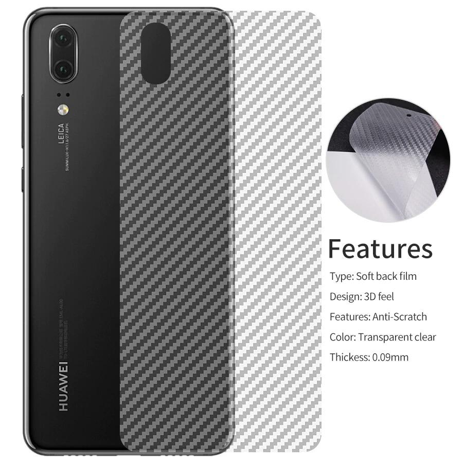 Huawei Y7 Prime 2019 3D Carbon Fiber Back Protective Film_3D Texture_Perfect fit_Also cover the sides_Scratch Proof_Transparent