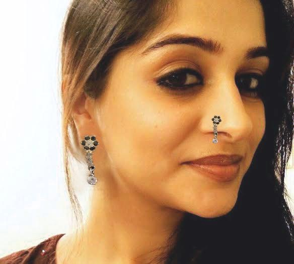 Pure Chandi Small Nose Ring Ear Pin With Black Color New