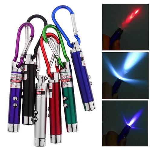 3 in1 Multifunction Mini Laser Light Pointer, LED Torch Flashlight Keychain, Money Checker