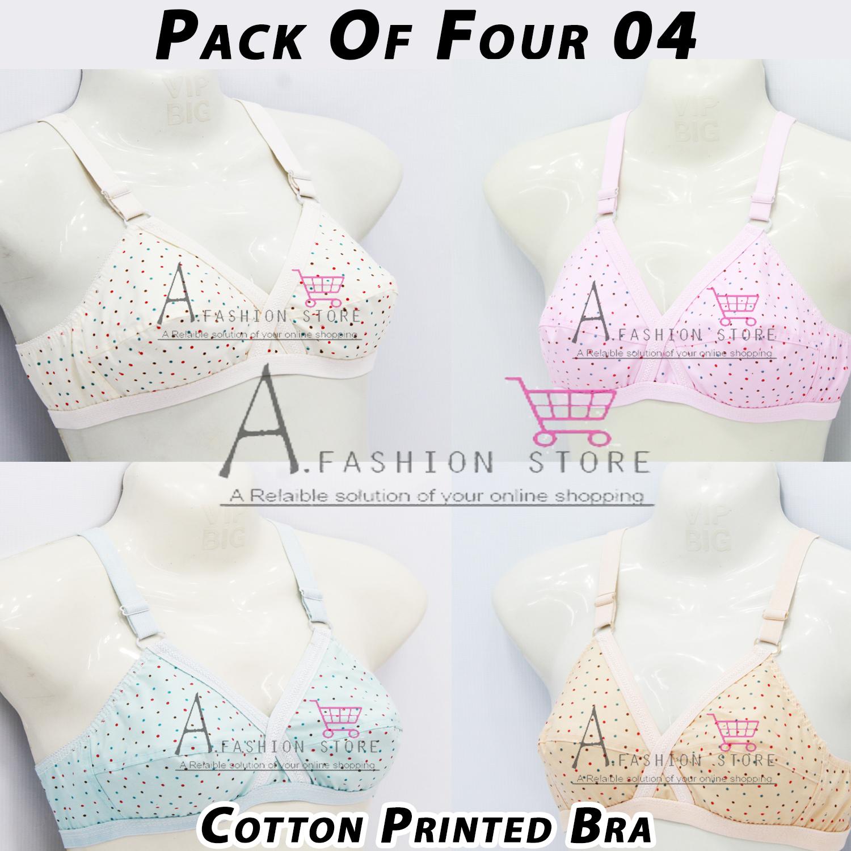 Pack of 4 Women Ladies Girls Classy Multi colour Cotton Printed Bra Brief Blouse Brazier Brassier Undergarments-03 Hooks Cotton Brazzer for Girls