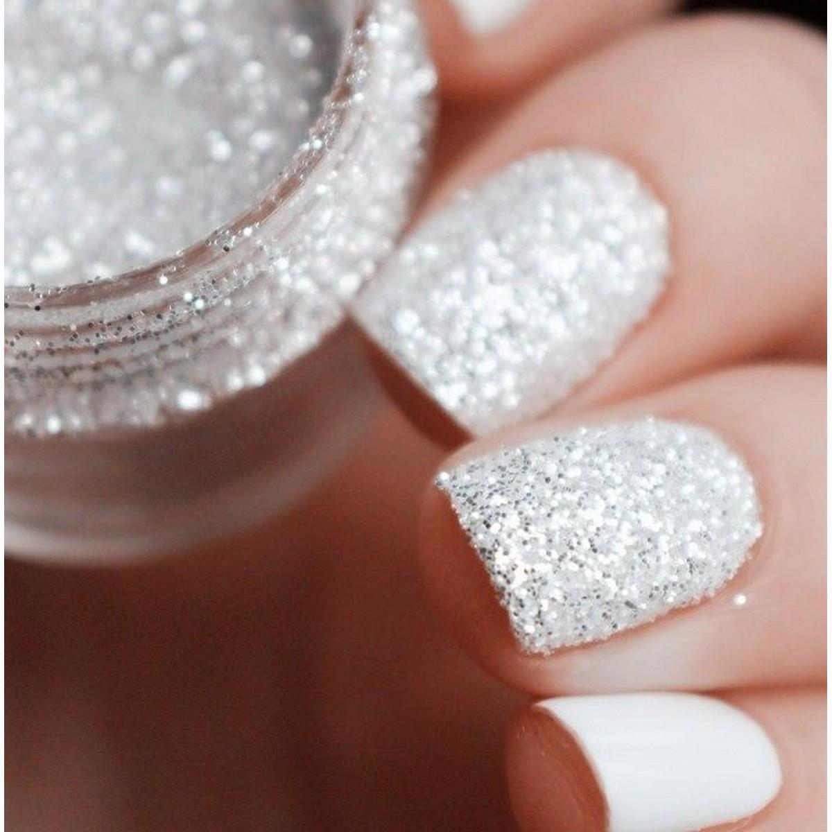 10ml 1mm Nail Glitter Powder White Shining Powder Manicure Decoration