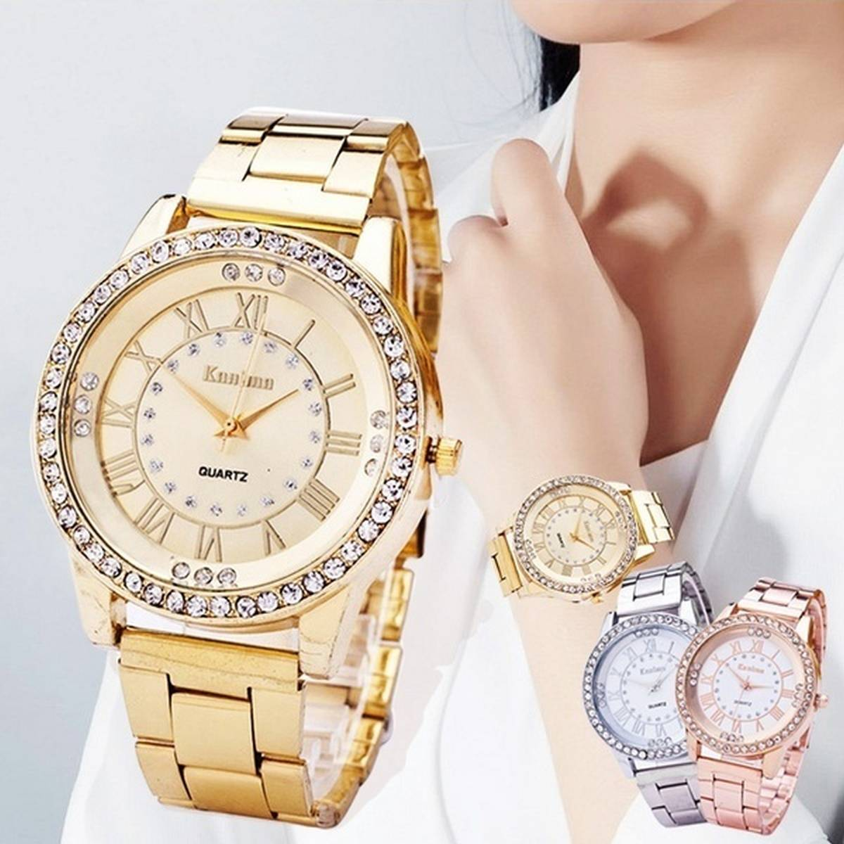 Gearbest Kanima Diamond Lady Golden Color Quartz Watch with Stainless Steel Body