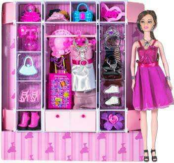 Doll Wardrobe Set With Beautifull Doll And Accessories/Doll Toy For Girls