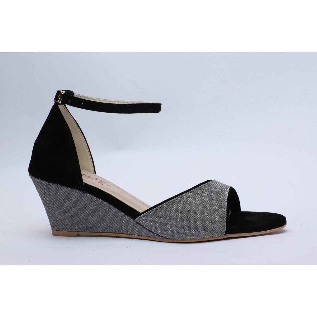 Silver Black Bling Wedge Platform Sandal High Heels Summer,  Fashion, Casual, Weeding, Party, Black, Silver